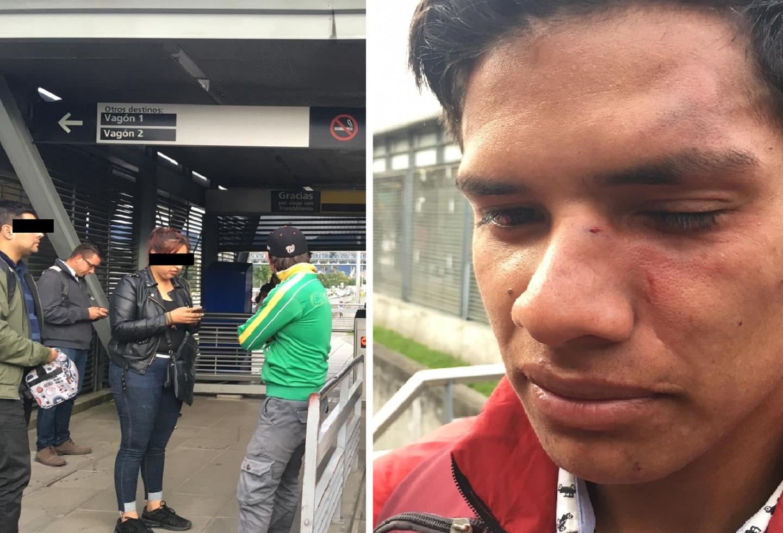 En video: Bachiller de la Policía le dio en la mula a un colado en una estación de Transmilenio