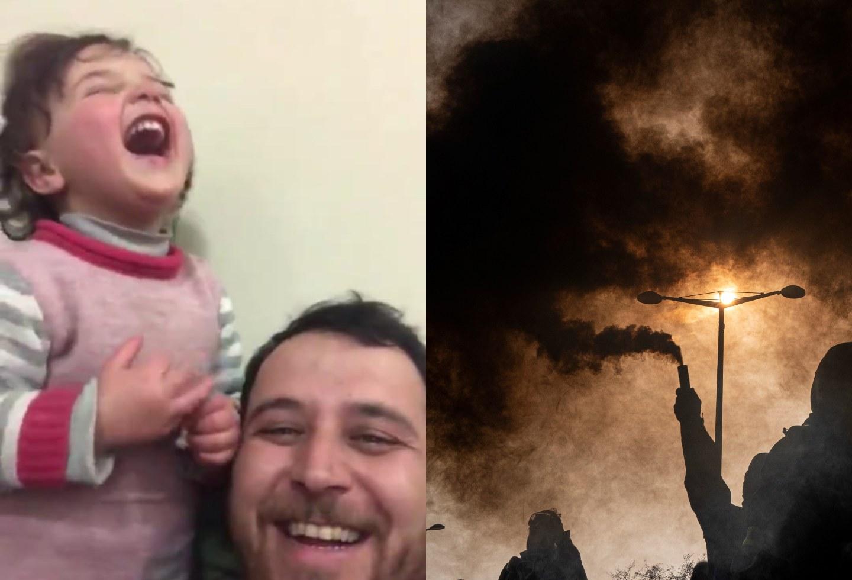 Al estilo de 'La vida es bella': Padre hace feliz a su hija en medio de un bombardeo