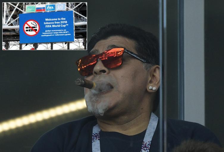 Maradona en el palco de Otkrytie Arena