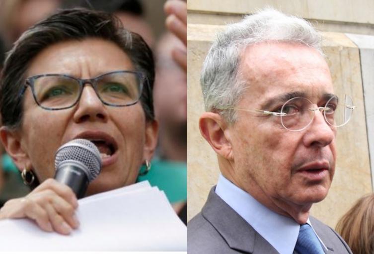 Claudia López y Alvaro Uribe