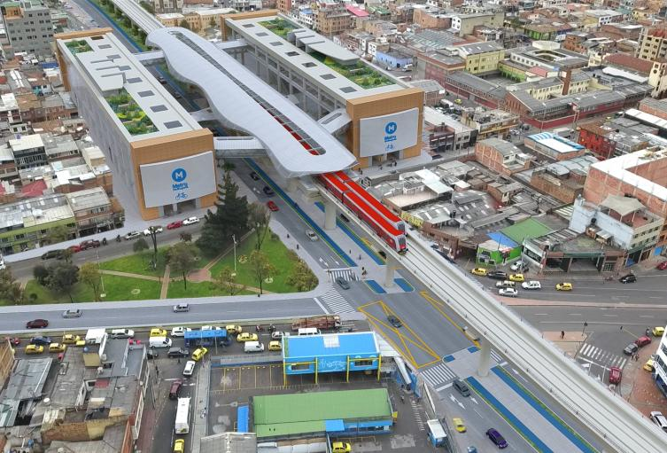 Render metro de Bogotá sector Nariño