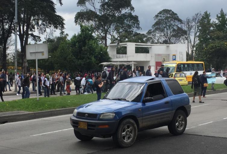 Protesta en los alrededores de la Universidad Nacional, en Bogotá