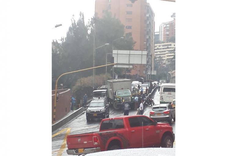 Accidente en la Avenida Circunvalar, norte de Bogotá.