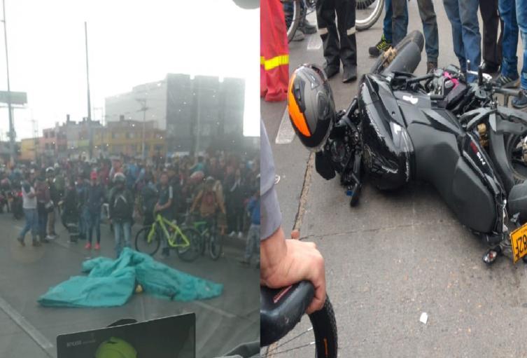 Accidente de motocicleta en el sur de Bogotá