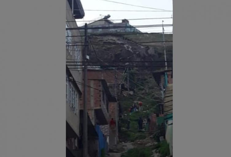 Zona de Caracolí que amenaza con desplomarse, en Ciudad Bolívar