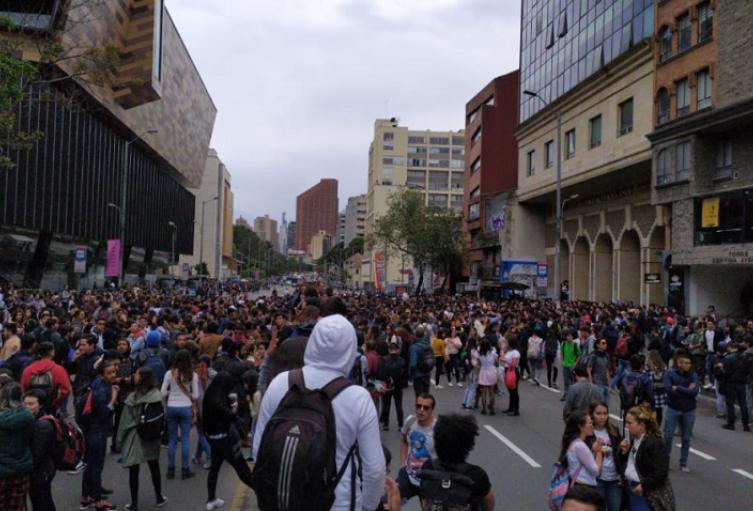 Protesta Universidad Distrital en Bogotá