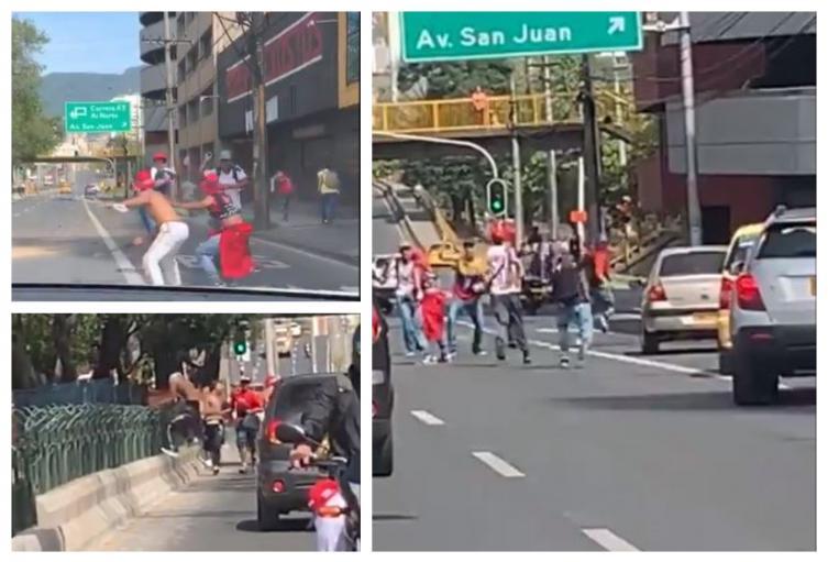 Pelea entre hinchas en Medellín
