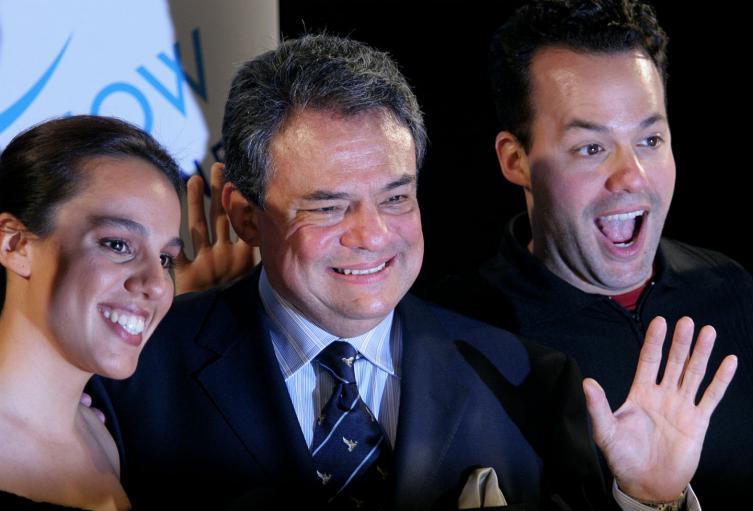 José José acompañado por sus hijos José Joel (R) y Marisol Soza.
