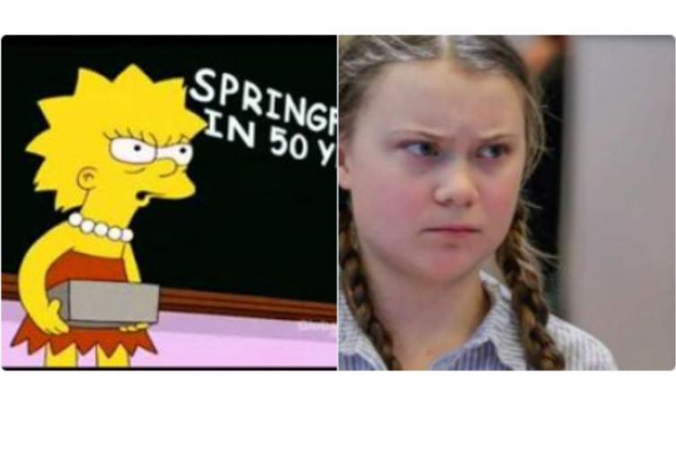 Lisa Simpson y Greta Thunberg.