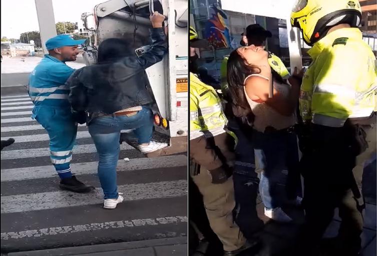 Mujer pelea con policías y termina en carro de la basura