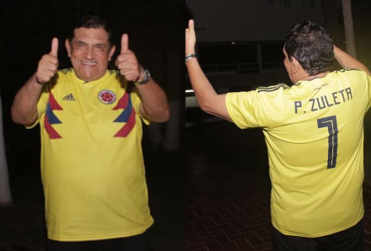 Poncho Zuleta cantó el himno de Colombia en juego contra Venezuela