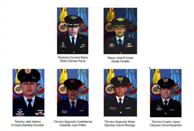 Militares que murieron en accidente de helicóptero de la FAC