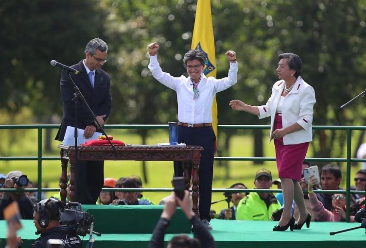 Claudia López en su posesión como alcaldesa de Bogotá