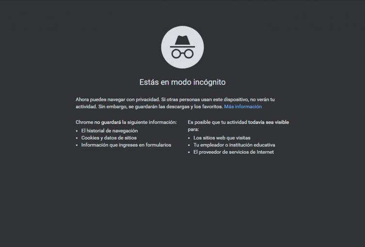 Modo incognito de Google Chrome