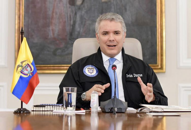Presidente Iván Duque, entregando balance sobre la emergencia por el coronavirus.