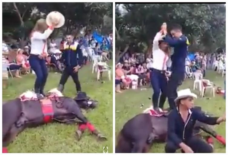 Desalmada pareja baila sobre caballo