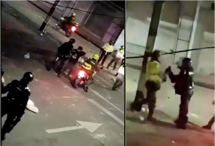 Agente del Esmad peleó con un policía por defender un ciudadano