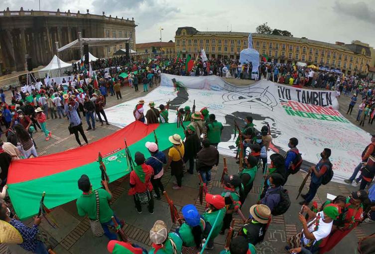 Minga Indígena en la Plaza de Bolivar