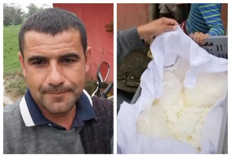 Campesino regala cuajadas en protestas