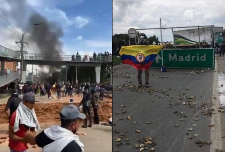 Manifestantes en Madrid, Cundinamarca, se le paran duro al Esmad