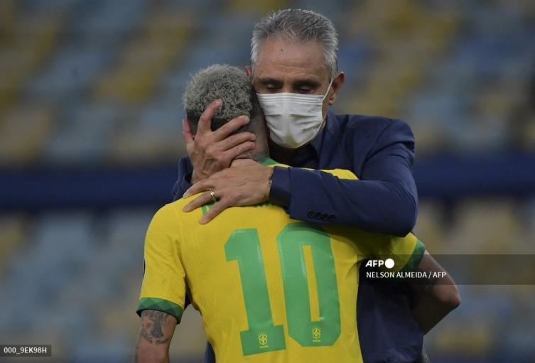 Tité y Neymar - Brasil