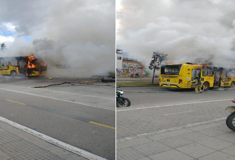 Bus es incendiado por encapuchados