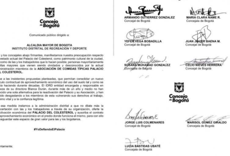 Carta firmada por 23 Concejales de Bogotá