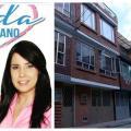 La casa con puertas en rombos, color dorado, donde fue hallada una fórmula médica a nombre de Aida Merlano, en Kennedy (Bogotá)