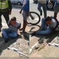 Ladrón sufre paloterapia
