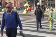 Campaña de movilidad para evitar accidentes en peatones, en Bogotá.
