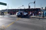 Accidente de Trasmilenio en el sector de Banderas, en Bogotá