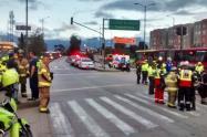 Accidente entre articulado de Transmilenio, dos particulares y una moto