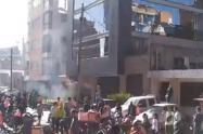 Protesta de tenderos en el norte de Bogotá.