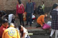 Afectados por petardos en el centro de Bogotá