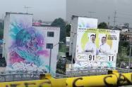 Indignación  por mural artístico que fue cubierto con publicidad política