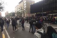 Manifestaciones en la carrera séptima con calle 40
