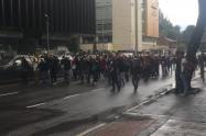 Protesta de estudiantes de la Universidad Distrital, en Bogotá