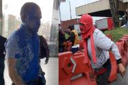 Hombre de Bancolombia fue bañado en pintura