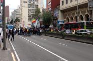 Protestas en la Séptima de estudiantes de la U. Distrital