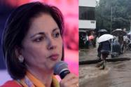 María del Rosario Guerra cruza un charco montada a tuta