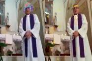 A un cura se le activaron graciosos filtros por error en medio de una misa