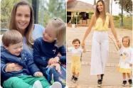 Laura Acuña y sus dos hijos: Helena y Nicolás