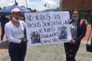 Protesta de familiares de reclusos en Bogotá