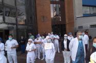 Médicos protestan en Bogotá