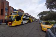 Protesta del transporte intermunicipal, en Bogotá