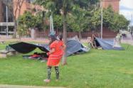 Indígenas en Parque Tercer Milenio en Bogotá.