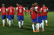 Chile celebra gol a Colombia
