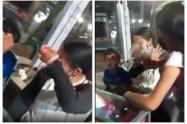 Niños le pegan a la mamá en Armenia