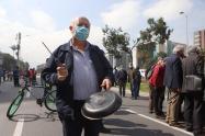 Protestas en Bogotá / Dueños de buses provisionales del SITP