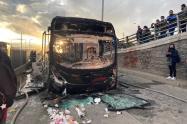 Transmilenio quemado en Soacha